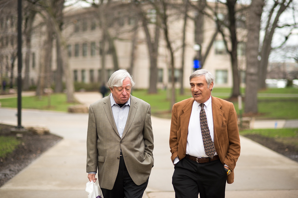 Joel Mokyr, left, and Robert Gordon converse as they walk Tuesday, April 29, 2014, on the campus of Northwestern University in Evanston, ILL.<br /> CREDIT: Rob Hart for The Wall Street Journal<br /> SLUG: GROWTH