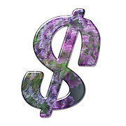 The Dollar symbol. Part of a set of letters, Numbers and symbols of 3D Alphabet made with a floral image on white background