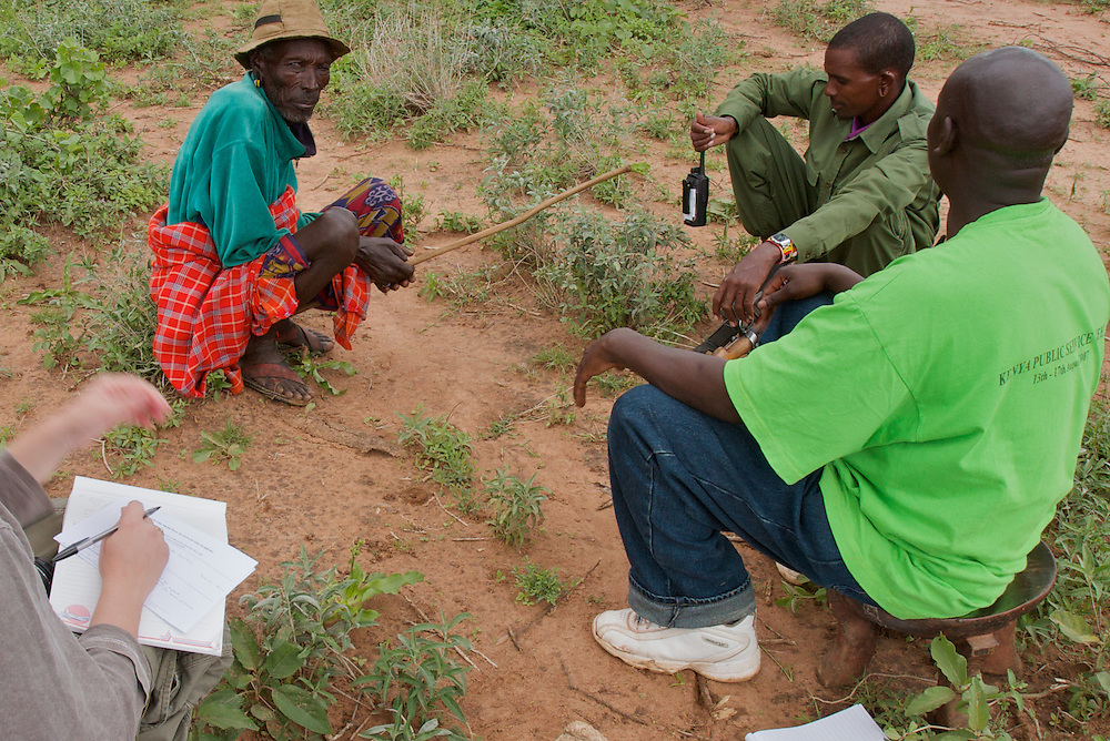 Interviewing a Samburu elder about his use of medicinal plants. The questions were translated from English to Swahili to Samburu, and the answers back the other way.