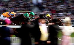 Stradivarius ridden by Frankie Dettori (right) on their way to winning the Gold Cup (Group 1) (British Champions Series) (Class 1) during day three of Royal Ascot at Ascot Racecourse.