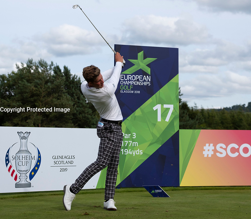 Gleneagles, Scotland, UK; 7 August, 2018.  Practice day at Gleneagles for the European Championships 2018. Niklas Norgaard Moller from Denmark on the 17th tee