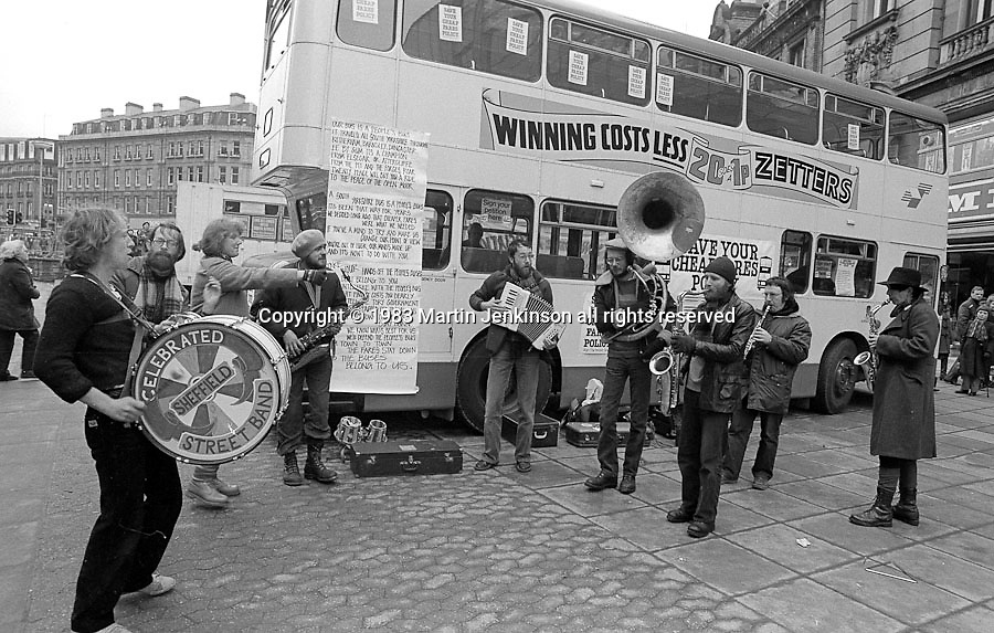 Sheffield Celebrated Street Band. Cheap Bus Fares Campaign. Fargate,  Sheffield.
