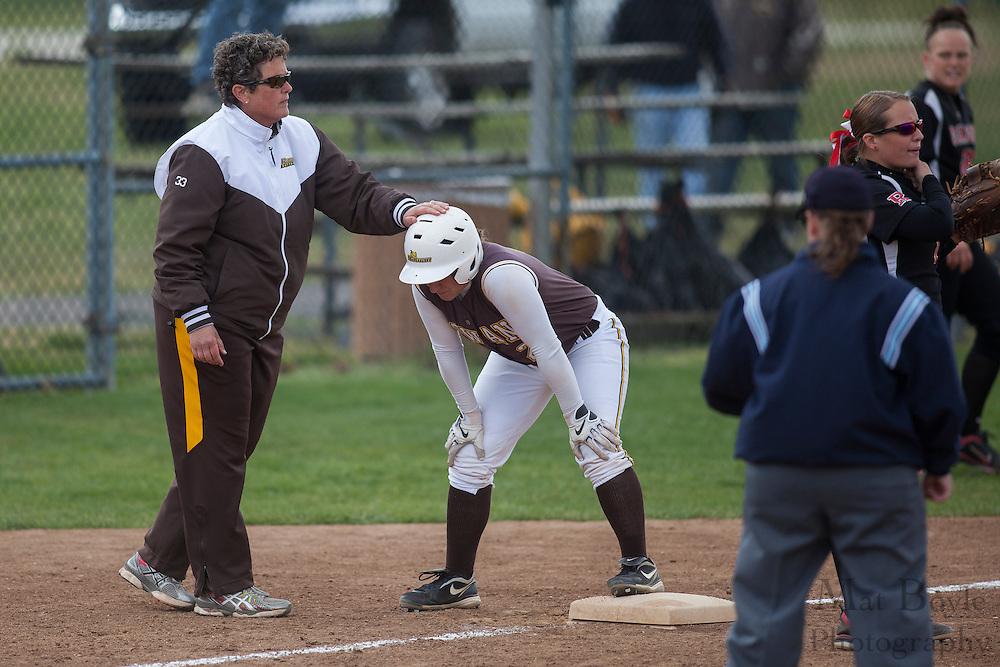 Rowan University Softball Senior Nicolina Veneziano (2); Rowan University Softball Head Coach Kim Wilson;  Rutgers-Camden softball at Rowan University on Tuesday April 10, 2012 in Glassboro, NJ. (photo / Mat Boyle)