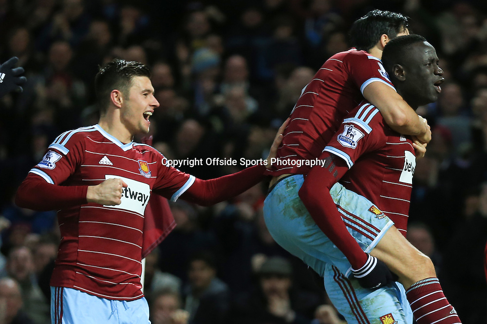 8 February 2015 - Barclays Premier League - West Ham United v Manchester United - Cheikhou Kouyate of West Ham celebrates scoring the opening goal with James Tomkins - Photo: Marc Atkins / Offside.