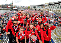Bristol City players have with the Sky Bet League One Trophy on the bus in front of thousands of fans gathered at the amphitheatre in Bristol  - Photo mandatory by-line: Joe Meredith/JMP - Mobile: 07966 386802 - 04/05/2015 - SPORT - Football - Bristol -  - Bristol City Celebration Tour