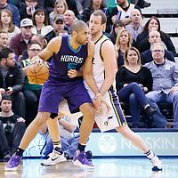 27 January 2016: Charlotte Hornets guard Nicolas Batum (5) posts up Utah Jazz forward Joe Ingles (2) during the Utah Jazz 102-73 victory over the Charlotte Hornets, at the Vivint Smart Home Arena, Salt Lake City, Utah, USA.
