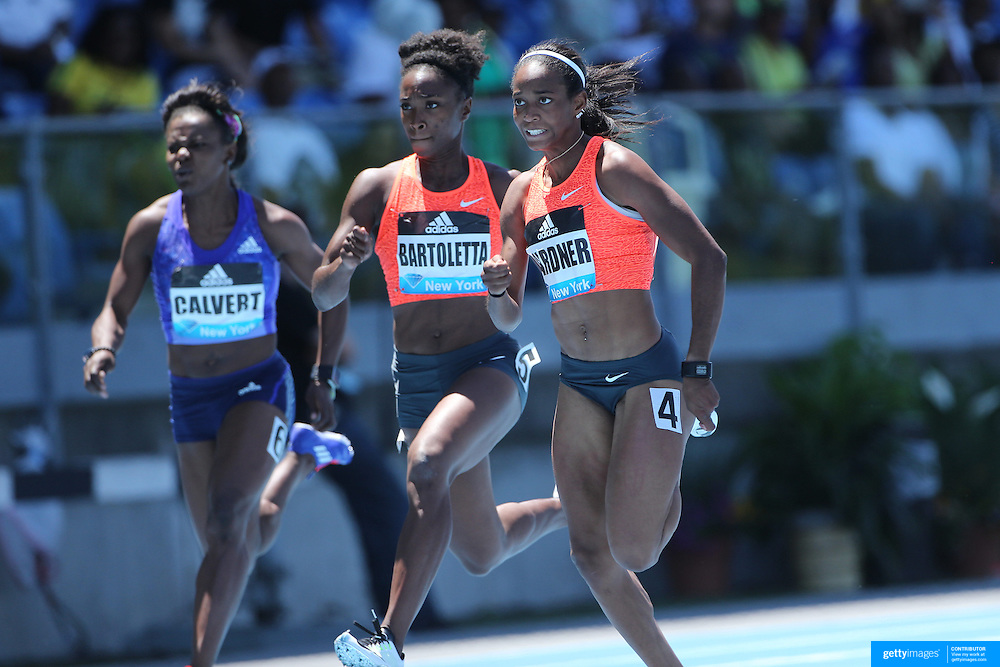 English Gardner, USA, winning the Women's 100m event at the Diamond League Adidas Grand Prix at Icahn Stadium, Randall's Island, Manhattan, New York, USA. 13th June 2015. Photo Tim Clayton