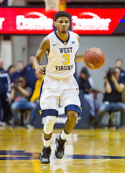 Nov 11, 2016; Morgantown, WV, USA; West Virginia Mountaineers guard James Bolden (3) dribbles the ball up the floor during the second half against the Mount St. Mary's Mountaineers at WVU Coliseum. Mandatory Credit: Ben Queen-USA TODAY Sports