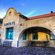The Santa Fe Depot is the northern terminus of the New Mexico Rail Runner Express commuter rail line. The station was originally built by the Atchison, Topeka and Santa Fe, and until 2014 served as the northern terminus, offices, and gift shop of the Santa Fe Southern Railway, a tourist and freight carrying short line railroad.