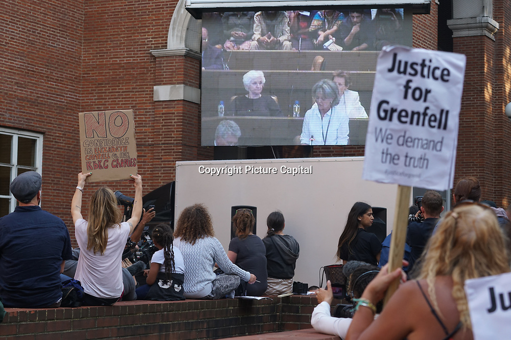 London, UK. 19th July, 2017. Justice for Grenfell Tower protest. Hundreds of angry protesters gather outside Kensington town hall ahead of first full council meeting since the fire and the Resignation of RBKC council now.
