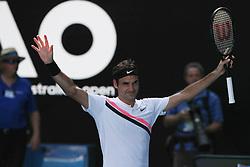 MELBOURNE, Jan. 22, 2018  Roger Federer of Switzerland celebrates after winning the men's singles fourth round match against Marton Fucsovics of Hungary at Australian Open 2018 in Melbourne, Australia, Jan. 22, 2018. Roger Federer won 3-0. (Credit Image: © Bai Xuefei/Xinhua via ZUMA Wire)