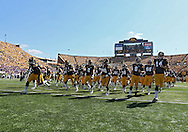 September 15 2012: The Iowa Hawkeyes take the field before the start of the NCAA football game between the Northern Iowa Panthers and the Iowa Hawkeyes at Kinnick Stadium in Iowa City, Iowa on Saturday September 15, 2012. Iowa defeated Northern Iowa 27-16.