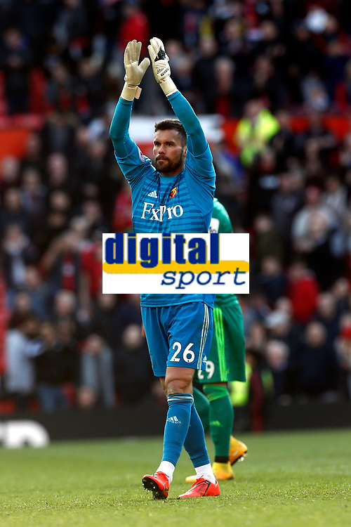 Football - 2018 / 2019 Premier League - Manchester United vs. Watford<br /> <br /> Watford keeper Ben Foster applauds their travelling support at the final whistle, at Old Trafford.<br /> <br /> COLORSPORT/ALAN MARTIN