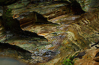 """Layers of sedimentary rock exposed in a small rain forest creek on Halmahera Island, Indonesia.<br />This area, know as """"Batu Putih"""" meaning White Rock, produces milky sediments in the runoff."""