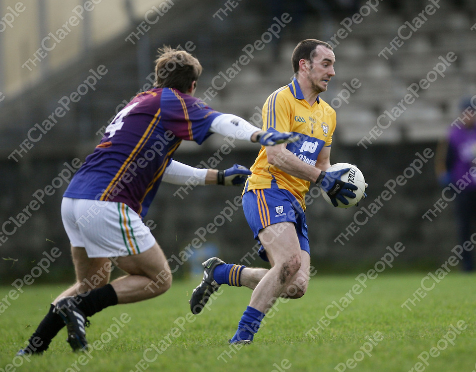 08.01.12<br /> McGrath Cup Football 2012, Clare verses UL, Doonbeg Co. Clare. Clare's Rory Donnelly in action against Ul's Padraic O'Connor. Pic Alan Place Press 22.