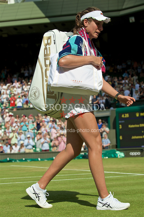 LONDON, ENGLAND - Thursday, July 4, 2019: Johanna Konta (GBR) walks off court after the Ladies' Singles second round match on Day Four of The Championships Wimbledon 2019 at the All England Lawn Tennis and Croquet Club. Konta won 6-3, 6-4. (Pic by Kirsten Holst/Propaganda)