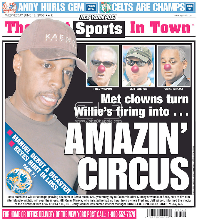 18th June 2008 Back page, New York Post..17th June 2008, Cost Mesa, California. Manager, Willie Randolph who was fired by the New York Mets in the middle of the night, following their third win in four games, Willie is pictured leaving the Westin Hotel in Costa Mesa, California. PHOTO © JOHN CHAPPLE / REBEL IMAGES.tel: +1-310-570-9100