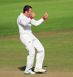 Roelof Van De Merwe of Somerset celebrates the wicket of Michael Lumb.  - Mandatory by-line: Alex Davidson/JMP - 22/09/2016 - CRICKET - Cooper Associates County Ground - Taunton, United Kingdom - Somerset v Nottinghamshire - Specsavers County Championship Division One