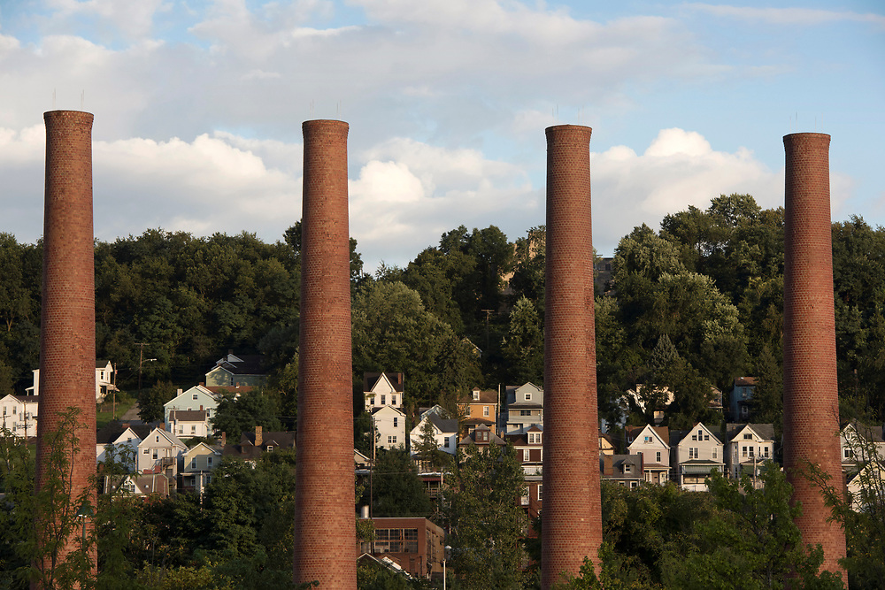 A view of Homestead through the smokestacks at The Waterfront. The smokestacks are among the few remaining signs of steemaking in Homestead.