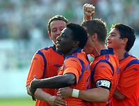 Fotball<br /> Kvalifisering UEFA Europa League<br /> 14.07.2011<br /> Ferencvaros v Aalesund<br /> Foto: Aleksandar Djorovic, Digitalsport<br /> <br /> Solomon Okoronkwo (2L) and Kjell Rune Sellin (R) celebrate first goal