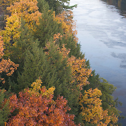 The Connecticut River in fall as seen from the French King Bridge in Erving, Massachusetts.  Route 2 - Mohawk Highway.