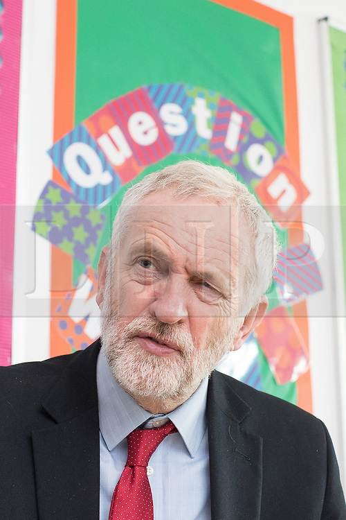© Licensed to London News Pictures . 22/03/2018. Manchester, UK. JEREMY CORBYN doing media interviews at the launch of the Labour Party's local election campaign at Stretford Sports Village in Trafford . Photo credit: Joel Goodman/LNP