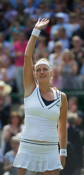 LONDON, ENGLAND - Thursday, June 30, 2011: Petra Kvitova (CZE) celebrates after winning the Ladies' Singles Semi-Final match on day ten of the Wimbledon Lawn Tennis Championships at the All England Lawn Tennis and Croquet Club. (Pic by David Rawcliffe/Propaganda)