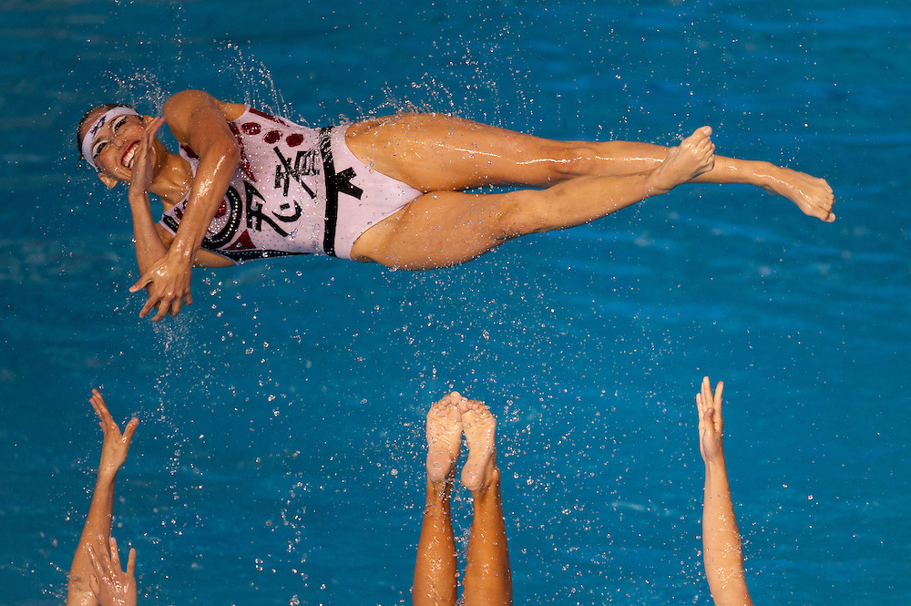 Oct. 21, 2011 - Guadalajara, Mexico - The Mexico synchronized swimming team preforms in the finals at the Scotiabank Aquatics Center on day seven of the XVI Pan American Games. Canada won the gold medal, USA won the silver, and Brazil won the bronze medal. .©Benjamin B Morris