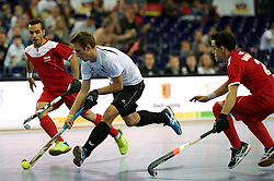 LEIZPIG - WC HOCKEY INDOOR 2015<br /> AUT v IRI (Semi Final 2)<br /> STEYRER Florian in dual with BOHLOULI Mohsen<br /> FFU PRESS AGENCY COPYRIGHT FRANK UIJLENBROEK