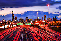 Chicago Skyline & Dan Ryan Expressway (Sunset)