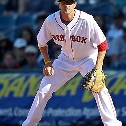 March 12, 2011; Fort Myers, FL, USA; Boston Red Sox first baseman Drew Sutton (70) during a spring training exhibition game against the Florida Marlins at City of Palms Park. The Red Sox defeated the Marlins 9-2.  Mandatory Credit: Derick E. Hingle