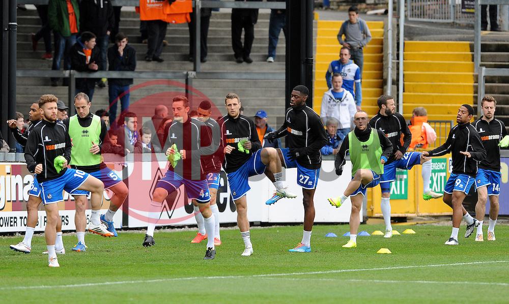 Bristol Rovers warm up - Photo mandatory by-line: Neil Brookman/JMP - Mobile: 07966 386802 - 03/04/2015 - SPORT - Football - Bristol - Memorial Stadium - Bristol Rovers v Chester - Vanarama Football Conference
