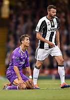Cristiano Ronaldo of Real Madrid and Andrea Barzagli of Juventus during the UEFA Champions League Final match between Real Madrid and Juventus at the National Stadium of Wales, Cardiff, Wales on 3 June 2017. Photo by Giuseppe Maffia.<br /> <br /> Giuseppe Maffia/UK Sports Pics Ltd/Alterphotos