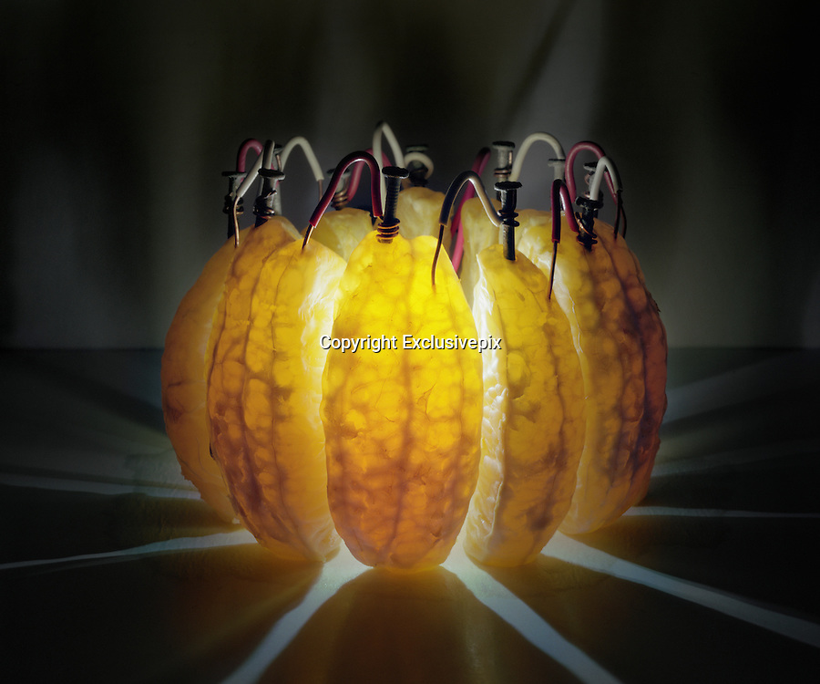 The power inside your five-a-day: Photographer creates amazing illuminated images by placing electrodes inside FRUIT<br /> <br /> You may have created a battery using a potato or a lemon in a physics class at school.<br /> <br /> But one artist has taken the humble experiment a step further by using an array of fruit from limes to apples in order to make self-powered lights that light up his photographs.<br /> <br /> Caleb Charland uses nails hidden inside the fruit which are connected with copper to make batteries, inspired by the classic potato classroom experiment.<br /> The artist, from Bangor, Maine, transforms the fruit into electrochemical cells, which he arranges artistically before taking long-exposure photographs of his work in a bid to highlight the potential of sustainable energy.<br /> <br /> The fruit itself provides enough light to illuminate the photographs, which are all taken in the dark.<br /> <br /> He writes on his website: 'To understand the world and to profit from it one must interact with it, one must experiment.<br /> <br /> 'My practice as an artist combines a scientific curiosity with a constructive approach to making pictures.<br /> <br /> 'I utilise everyday objects and fundamental forces to illustrate experiences of wonder.<br /> <br /> Mr Charland explained that his Back to Light project 'expands upon a classic grade school science project, the potato battery.<br /> <br /> 'By inserting a galvanised nail into one side of a potato and a copper wire in the other side a small electrical current is generated. The utter simplicity of this electrical phenomenon is endlessly fascinating for me.'<br /> <br /> He believes that the fact that so many people have conducted the experiment when they were young speaks to a common curiosity that humans have in understanding how the world works 'as well as a global concern for the future of Earth's energy sources.<br /> <br /> 'My hope is that these photographs function as micro utopias by suggesting 
