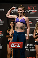 "GLASGOW, UNITED KINGDOM, JULY 15, 2017: Leslie Smith on stage during the ceremonial weigh-in for ""UFC Fight Night Glasgow: Nelson vs. Ponzinibbio"" inside the SSE Hydro Arena in Glasgow"