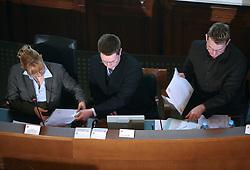 Javno odpiranje ponudb za izbiro zasebnega strateskega partnerja pri gradnji sportnega parka v Stozicah, 28. februar 2008, Mestna hisa, Ljubljana, Slovenija. Komisija za odpiranje ponudb..(Photo by Vid Ponikvar / Sportal Images)
