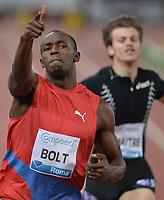 "Usain Bolt Jamaica 100m men winner 9.76, Christophe Lemaitre France<br /> Roma 31/5/2012 Stadio ""Olimpico""<br /> Atletica Compeed Golden Gala 2012<br /> Track and Fields<br /> Foto Andrea Staccioli Insidefoto"