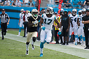 Devin Funchess(17)is focused on the ball in the New Orleans Saints 34 to 13 victory over the Carolina Panthers.