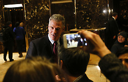 November 21, 2016 - New York, New York, United States of America - Former United States Senator Scott Brown (Republican of Massachusetts) speaks to journalists after meeting with US President-elect Donald Trump, November 21, 2016, at the Trump Tower in New York, New York..Credit: Aude Guerrucci / Pool via CNP (Credit Image: © Aude Guerrucci/CNP via ZUMA Wire)