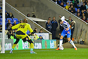 Ali Al Habsi, Jake Cooper and Arouna Kone during the Capital One Cup match between Reading and Everton at the Madejski Stadium, Reading, England on 22 September 2015. Photo by Adam Rivers.