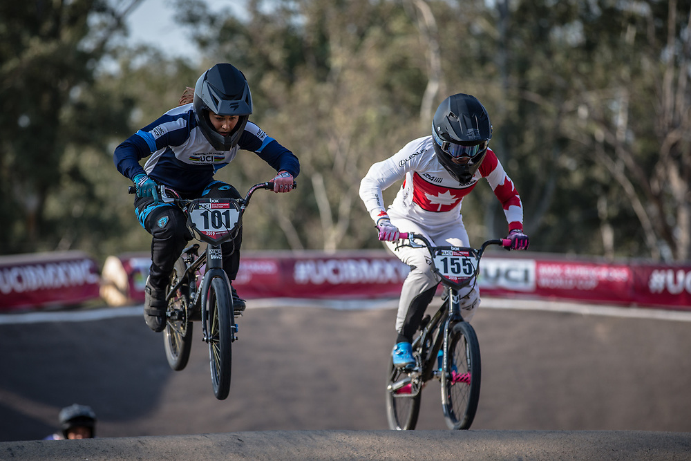 #101 (CAVALLI Agustina) ARG and #155 (MECHIELSEN Drew) CAN at Round 10 of the 2019 UCI BMX Supercross World Cup in Santiago del Estero, Argentina