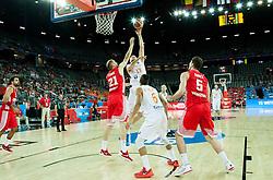 09-09-2015 CRO: FIBA Europe Eurobasket 2015 Nederland - Kroatie, Zagreb<br /> Luka Zoric of Croatia vs Rowland Schaftenaar of Netherlands during basketball match between Netherlands and Croatia at Day 5 in Group C of FIBA Europe Eurobasket 2015, on September 9, 2015, in Arena Zagreb, Croatia. Photo by Vid Ponikvar / RHF