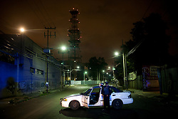 Police patrol the streets in Mexico City, Mexico. As the borders to the north tighten, more drugs and weapons are staying in Mexico. The rate of addiction is increasing and violent crime is also increasing throughout the country.