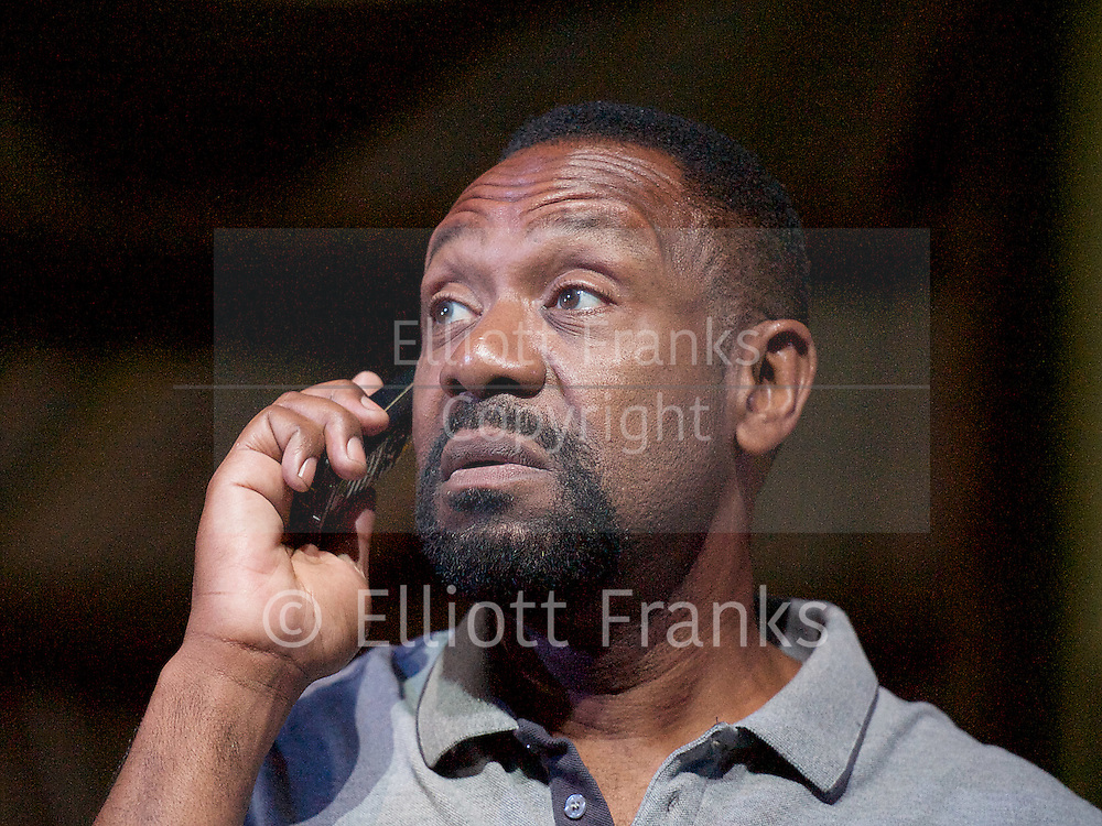Rudy's Rare Records by Danny Robins <br /> at the Birmingham Rep, Birmingham, Great Britain <br /> press photocall <br /> 8th September 2014 <br /> directed by paulette Randall <br /> <br /> Lenny Henry as Adam<br /> Larrington Walker as Rudy <br /> Jeffrey Kissoon as Cligton <br /> Joivan Wade as Ritchie<br /> Lorna Gayle as Doreen <br /> Natasha Godfrey as Tasha<br /> <br /> Photograph by Elliott Franks <br /> Image licensed to Elliott Franks Photography Services