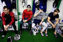 Tomaz Razingar, Andrej Hebar, Klemen Pretnar and Mitja Sivic of Slovenian Ice Hockey National team  at visit of children of kindergarten Mojca from Dravlje, Ljubljana during the IIHF World Championship Division 1 Group B tournament, on April 21, 2010, in Hala Tivoli, Ljubljana, Slovenia.  (Photo by Vid Ponikvar / Sportida)