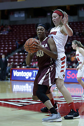 01 November 2017: Sabrina Clay backs in against Megan Talbot during a Exhibition College Women's Basketball game between Illinois State University Redbirds the Red Devils of Eureka College at Redbird Arena in Normal Illinois.