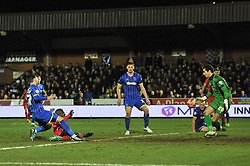 Liverpool's Mario Balotelli takes a shot at goal. - Photo mandatory by-line: Dougie Allward/JMP - Mobile: 07966 386802 - 05/01/2015 - SPORT - football - London - Cherry Red Records Stadium - AFC Wimbledon v Liverpool - FA Cup - Third Round
