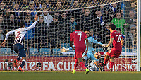 Football - 2016 / 2017 FA Cup - Fifth Round: Millwall vs. Leicester City <br /> <br /> Jordan Archer of Millwall saves at close range from Shinji Okazaki of Leicester City at The Den<br /> <br /> COLORSPORT/DANIEL BEARHAM