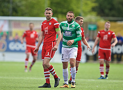 RHOSYMEDRE, WALES - Sunday, May 5, 2019: The New Saints' Greg Draper (R) and Connah's Quay Nomads's George Horan during the FAW JD Welsh Cup Final between Connah's Quay Nomads FC and The New Saints FC at The Rock. (Pic by David Rawcliffe/Propaganda)