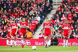 Middlesbrough players cut dejected figures - Mandatory by-line: Robbie Stephenson/JMP - 12/05/2018 - FOOTBALL - Riverside Stadium - Middlesbrough, England - Middlesbrough v Aston Villa - Sky Bet Championship